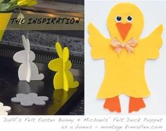 DIY Easter Bunny & Felt Duck felt decorations, toy, diy easter, puppet, craft projects, bunny crafts, easter craft, easter bunni, easter bunny