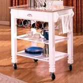 Found it at Wayfair - Caster Kitchen Island with Marble Top in White
