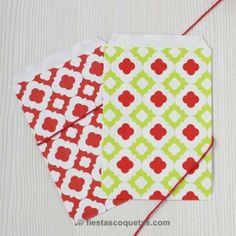 Bolsitas de papel rombos rojo / 12uds  de venta en: http://shop.fiestascoquetas.com