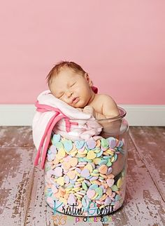 This baby looks like he is sick.. probably too much candy. photo props, candi, newborn valentin, photo tips, newborn photos, photographi idea, funny photos, babi, candy jars