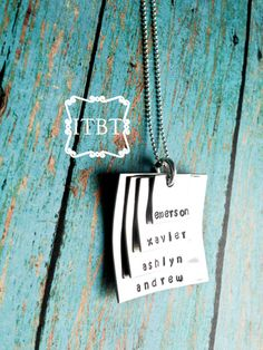 Stacked Square Mommy Necklace (xFOUR) - Mother's Day Jewelry - Personalized Mom Necklace - Hand Stamped Mommy Necklace