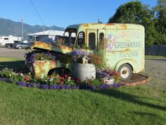 Great way to decorate an old delivery truck.