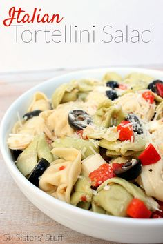Italian Tortellini Salad....good picnic side dish. I'm not an olive fan but I could pick around them. italiantortellinisalad, tortellini salad recipes, pasta salad, italian tortellini salad, side dish