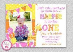 Pink Giraffe Birthday Invitation #pinkgiraffe #1stbirthday #partyinvitation