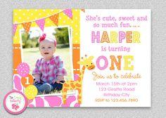 Pink Giraffe Birthday Invitation #pinkgiraffe #1stbirthday #partyinvitation