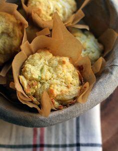 // cheddar leek muffins