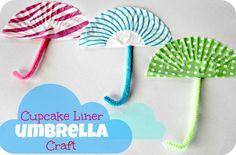 Preschool Science: Cupcake Liner Umbrella Craft (add cotton ball clouds)