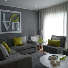 wall art, grey walls, living rooms, green, yellow, accent colors, live room, sectional sofas, white furniture