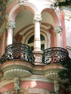 Exquisite pink balcony In Paris.