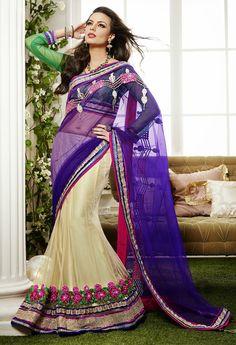 Charming Cream and Deep Bluish Purple Lehenga Saree