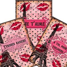 $2.98 French Kisses Valentine Tags 2.5x3.5 Collage - Atc Aceo tags postcard greeting cards hang tags gift - U-Print JPG format 300dpi