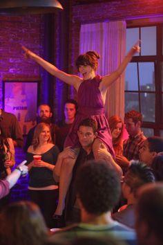 "Jess' (Zooey Deschanel) purples dress from the ""Fancyman Part 2"" episode of NEW GIRL on FOX."