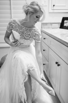 beautiful Marchesa bead and tulle wedding gown.