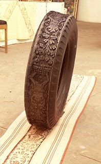 old tires carved into block print stamps