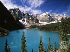 Wenkchemna Peaks Reflected in Moraine Lake, Banff National Park, Alberta, Canada Photographic Print by Adam Jones at Art.com