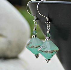 Seafoam Green Lampwork Drop Earrings by LunarBelle