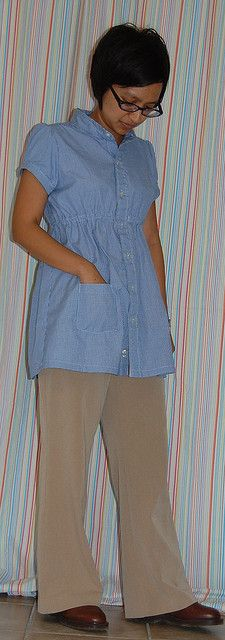 Refashion 11: Grainger Empire Waist Shirt from Men's Button Down Shirt - too long? by phthooey, via Flickr