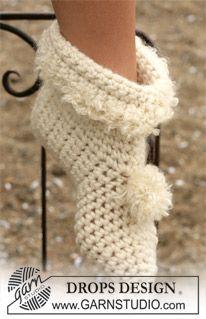 DROPS Crochet slippers in Eskimo ~ DROPS Design