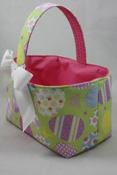 Easter Eggs Fabric Bin Basket Container. $18.00, via Etsy.