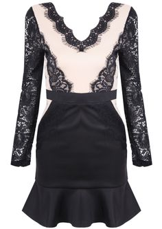 Nude and Black Lace Dress