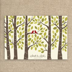 Guest Book Tree - Fall Wedding Guest Book Alternative Poster - Guestbook Tree for 125 Signatures on Etsy, $54.00