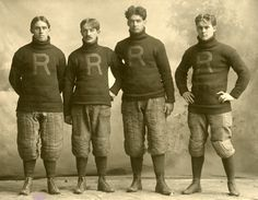 John E. Schwendener, left, poses with his Rush football teammates in 1900...