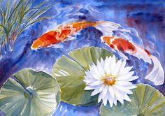 Koi Fish Painting Waterlily Pond Original Watercolor 14x20 Janet Zeh