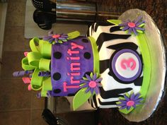 Very bright and cool colored birthday cake.