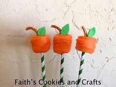 Cute little Pumpkin Marshmallows....just dip in orange candy melts, add a pretzel piece and I added a fondant leaf. #straws from #Pickyourplum