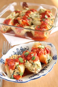 "Vegan Tofu ""Ricotta"" Stuffed Shells with Spinach and Eggplant from the Vegan Yumminess blog"