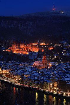 Winter nights in Heidelberg, Germany
