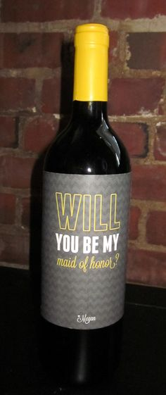 Chevron Will You Be My Bridesmaid Wine Label by mdp7 on Etsy, $6.00