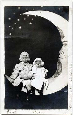 Two Little Girls on a Paper Moon - Real Photo Postcard