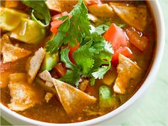 Chicken and Tortilla Soup (Sopa Azteca)