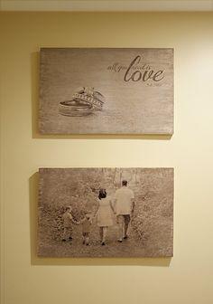 Leuk! met uitleg hoe je zelf foto's op een houten paneel kunt aanbrengen.
