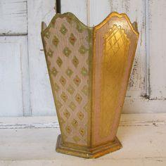 Florentine wooden waste basket vintage by AnitaSperoDesign on Etsy, $56.00