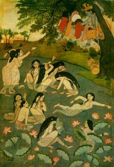This was farmed and hung in my grandfather's room. i remember seeing and imagiining - when i was a kid...krishna and the gopis