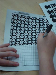 7th Grade -- Pattern & Op Art Lesson. Easy to do with grid paper & markers!  Sub plan?