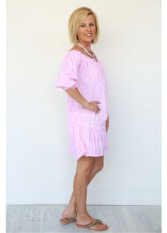 CLOTHING :: Crinkle Cotton Dress-Pink -
