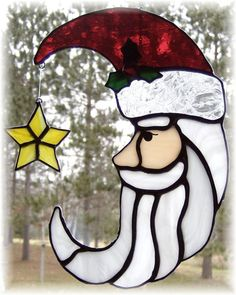 Santa Claus Moon Shaped Stained Glass Suncatcher