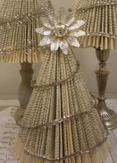 Christmas trees made out of old books