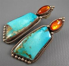 Vintage Navajo Sterling Amber Turquoise Pierced Earrings 26 Grams Signed