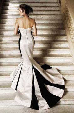 black  & white wedding gown