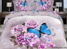 #bedding #3dbeddingsets #flowerbedset #butterfly Elegant Purple Flower with butterfly Print 4 Piece Bedding Sets Buy link--> http://goo.gl/U2Khxa Discover more--> http://goo.gl/wJJZwk Live a better life, start with @beddinginn