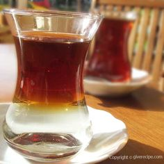 Turkish tea with a serving trick. You will be amazed when you see how the tea floats on the surface of water!   giverecipe.com   #tea #turkish