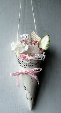 Pink and Pearly Cone with Vintage Sheet Music