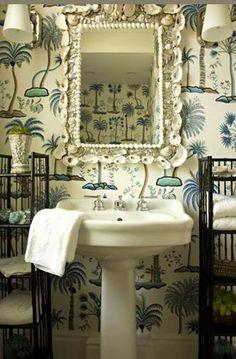 vintage beachy bathroom look
