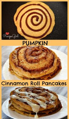 Pumpkin Cinnamon Roll Pancakes... I make mine healthier by subbing in coconut oil and oatmeal :)