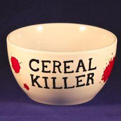 Cereal killer. painted pottery bowls, cereal killer, cereal bowl