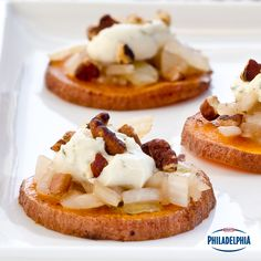 These Sweet Potato Stacks combine the tart and creaminess of Garlic and Herb Philly with the savoury and sweet flavours of sweet potatoes, balsamic dressing and onions.